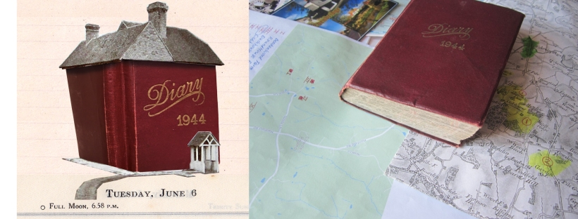 Collage of diary as a house, and a photo of the diary lying amongst maps and papers